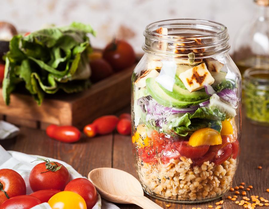 Colourful salad in a jar